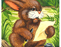 Rabbit, Writing Letter - Children's Illustration