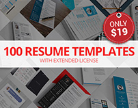 100 Resume Templates with Extended License – Only $19
