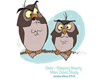Owls from Sleeping Beauty in the style of Marc Davis