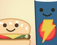 Kawaii Style Fast Food Illustration