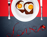 Fried eggs in shape heart.Creative valentine's day.