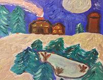 Night at the lake cabin