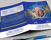 Premium Blue Funeral Program Booklet Template