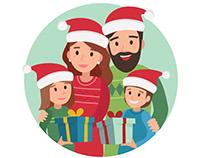 Christmas family scene - vector illustration