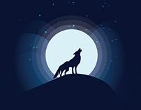 Moonlight wolf illustration