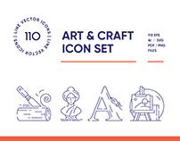 Art and Craft Line Icon Set