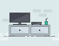 TV Stand Line Art Illustration