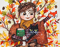 Custom watercolor portrait with Autumn leaves and cat