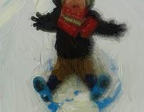 A Boys fun in the snow