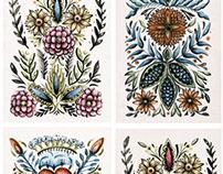 Folk designs prints and illustrations