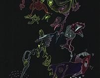 Mixed media on black paper (pastel & marker)