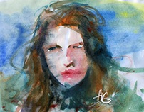 My student works. Watercolor portraits. (Set 1)