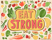 Eat Strong fruit and vegetable art print