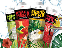 Mixers label and packaging for Paradise Ingredients.
