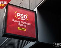 Square Sign Board Mockup PSD