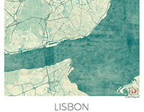 Lisbon, Portugal. Blue vintage watercolor map poster