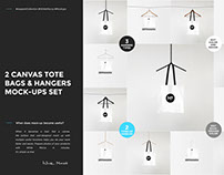 2 Canvas Tote Bags & Hangers Mock-ups Set