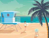 San Diego California Travel Poster City Illustration