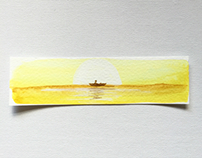 x3 set of watercolour bookmarks