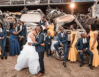 Car Wreckage Garage Wedding Photoshoot
