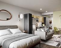 3D render of a studio apartment