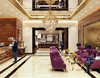 Hotel Reception: 3d Rendering