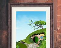 Movie Inspired Travel Poster Series (Hobbiton)