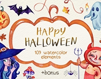 Happy Halloween Watercolor Super Pack