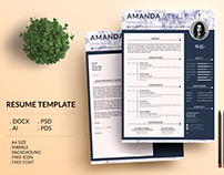 Marble simple Resume Template / CV Template/ Letterhead
