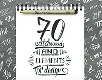 Hand lettering catchwords and design elements