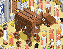 The Trojan Horse (isometric vector illustration)