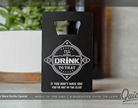 Black Metal Bottle Opener with Custom Silver Etching