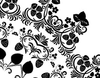 Floral ornament with strawberries silhouettes