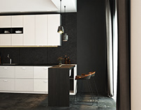 Modern contast kitchen interior design by AIR Studio