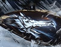 Aerografia de dragón sobre tanque de motocicleta