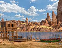 Cartoon Western Environment 3d