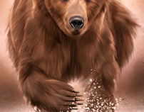 Bear Digital Oil Painting by Wayne Flint
