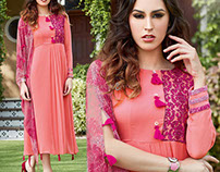 Designer Indo Western Long Aline Kurtis By DNU