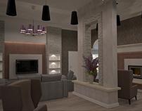 Интерьер гостиной и кухни-столовой в частном доме.