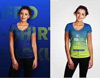 African V-Neck Female T-Shirt Mockups