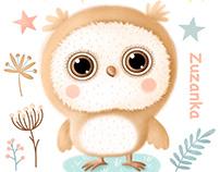 Owl for baby - sticker/ samolepky pro malé děti