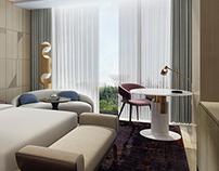 3D Renderings-Hotel Guestroom