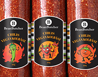 BeanButcher Vegan salami branding and packaging
