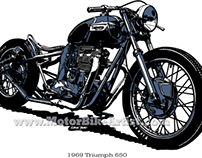 TRIUMPH BOBBER vintage motorcycle vector art drawing