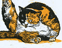Woodcut Print Arrogant Cat