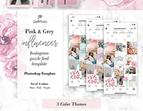 Pink & Grey Influencer Instagram Puzzle Feed Template
