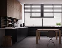 Poliform Varenna Twelve Kitchen | Black mat and Elm