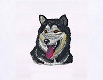 Gray Husky Dog Embroidery Design