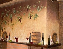 Mural with installation of the wine bottles