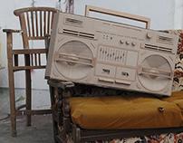 Cardboard ghetto blaster